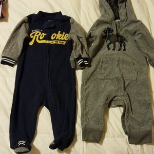 Two baby boy cold weather onesie outfits